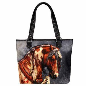 Montana West Tote Handbag Horse Art Canvas Purse